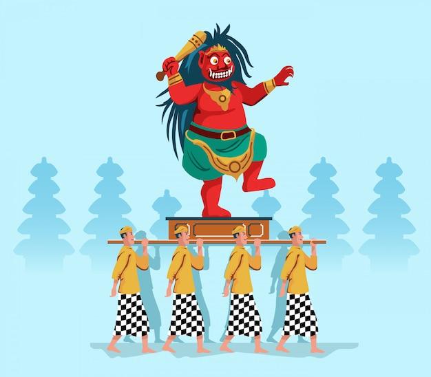 Evil spirit statue parade par hindu bali people Vecteur Premium