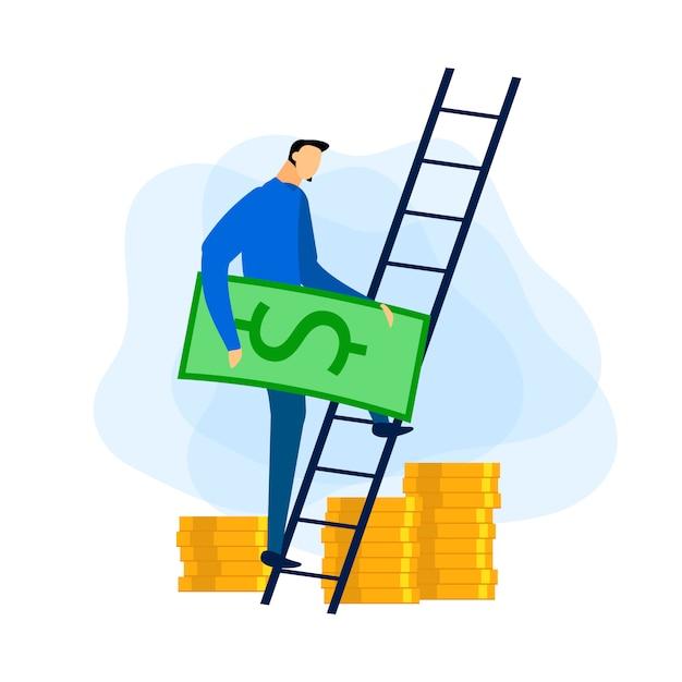 Évolution de carrière. réception du profit financier. vecteur. Vecteur Premium