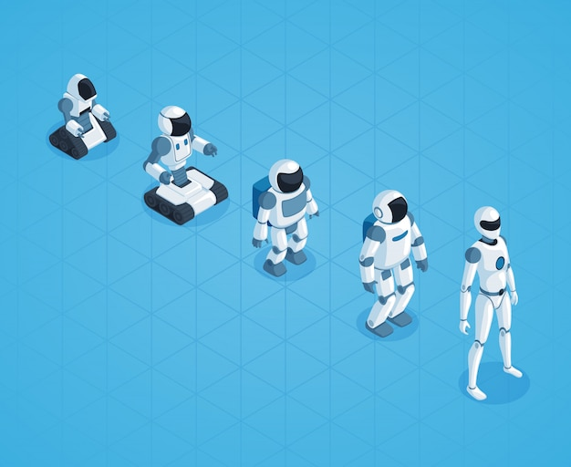 Evolution of robots isometric design Vecteur gratuit