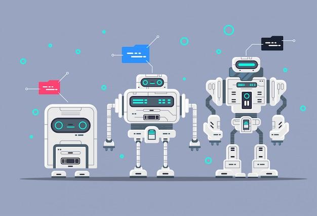Evolution Des Robots Etapes Du Développement Des Androïdes Vecteur Premium