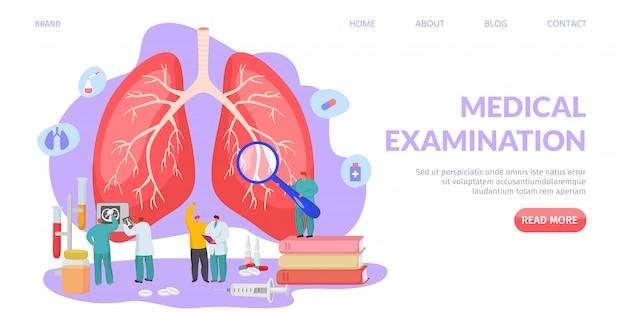 Examen Pulmonaire Médical, Illustration D'atterrissage. Diagnostic Et Traitement Du Système Respiratoire, Soins De Santé Professionnels. Vecteur Premium