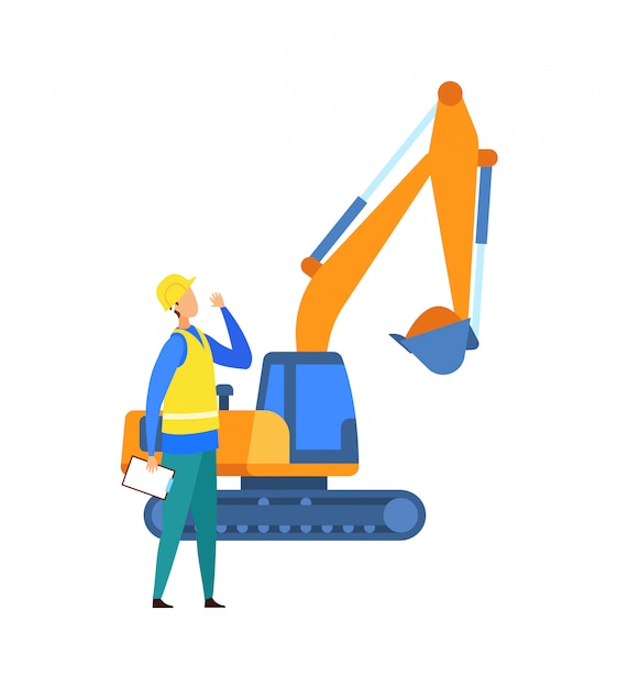 Excavation, Illustration Vectorielle De Chantier De Construction Vecteur Premium