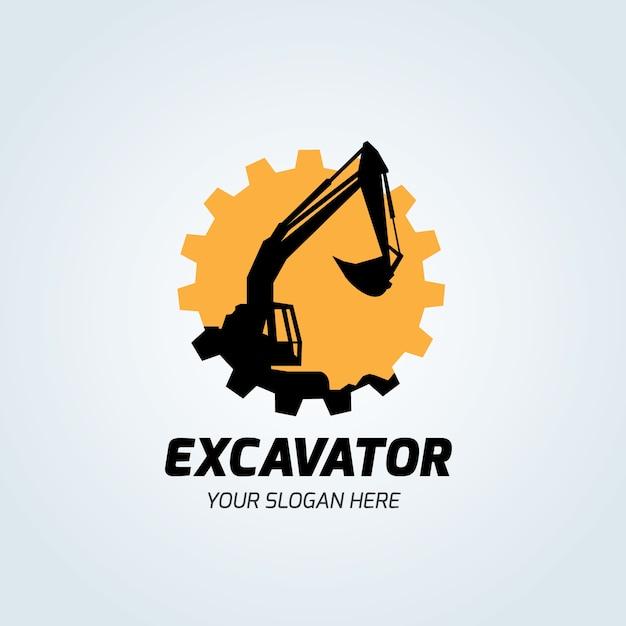 Excavatrice et rétrocaveuse logo illustration vectorielle Vecteur Premium