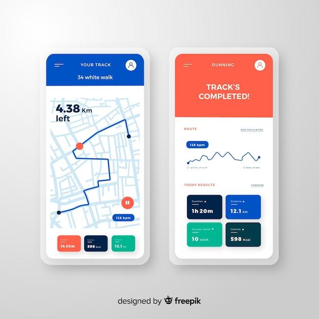 Exécution de style plat infographie application mobile Vecteur gratuit