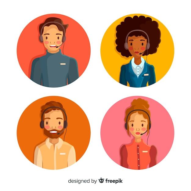 Exemple d'avatars du centre d'appels Vecteur gratuit