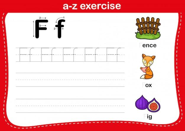 Exercice Alphabet Az Avec Illustration De Vocabulaire De Dessin Animé, Vecteur Vecteur Premium