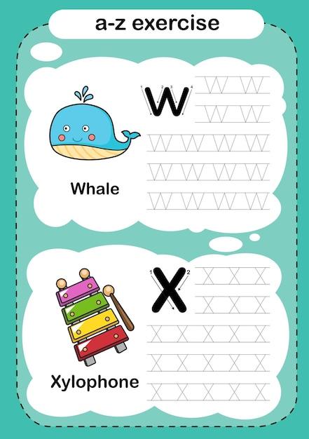 Exercice D'alphabet Avec Vocabulaire De Dessin Animé Vecteur Premium