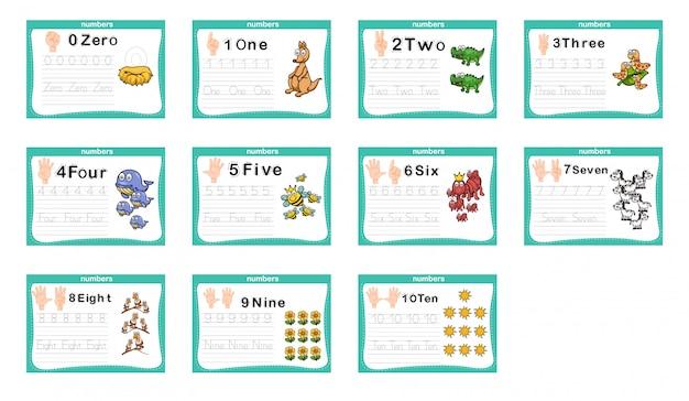 Exercice de connexion de points et de chiffres imprimables pour le préscolaire et la maternelle Vecteur Premium