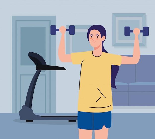 Exercice A La Maison Femme Faisant Du Sport Utilisant La Maison Comme Salle De Sport Vecteur Premium