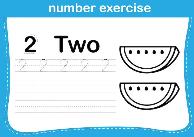 Exercice de numérotation avec illustration de dessin animé à colorier Vecteur Premium