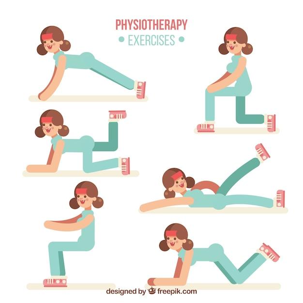 Exercices de phisiothérapie avec design plat Vecteur gratuit