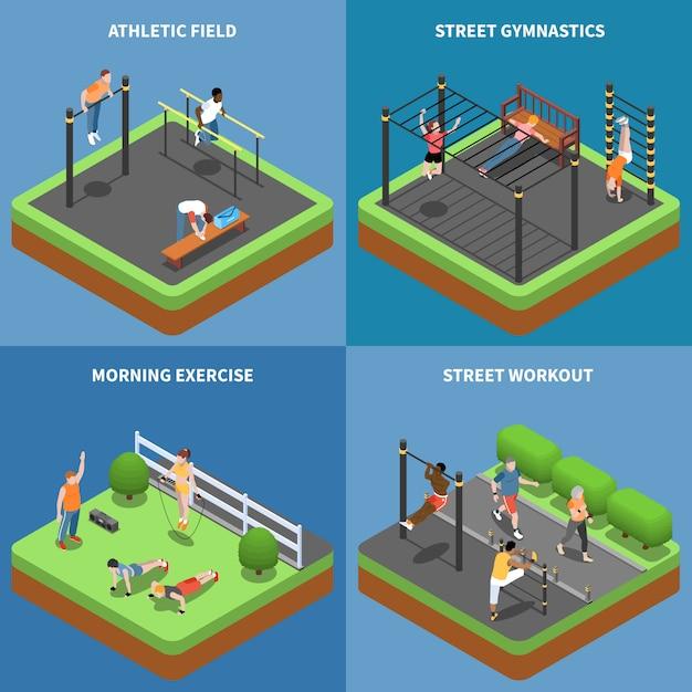 Exercices Du Matin D'entraînement De Rue Et Gymnastique En Plein Air Au Concept Isométrique De Terrain De Sport Isolé Vecteur gratuit