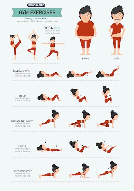 Exercices de gymnastique Vecteur Premium