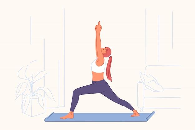 Exercices De Sport, Pratique Du Yoga, Concept De Mode De Vie Actif Vecteur Premium