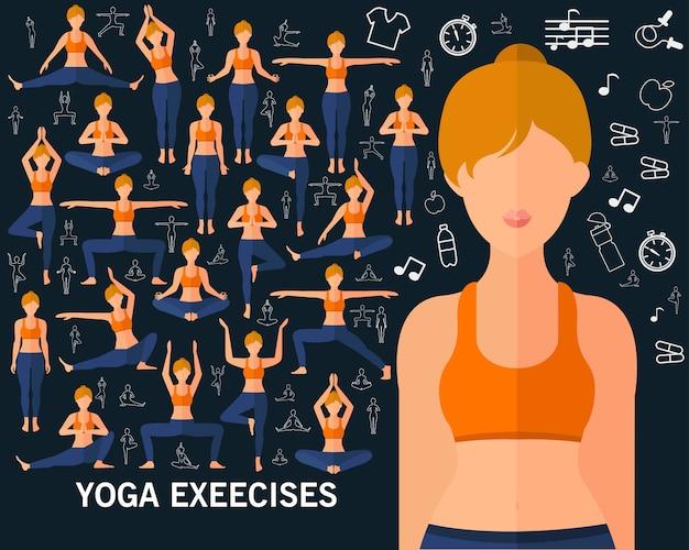 Exercices de yoga consept fond. icônes plates Vecteur Premium