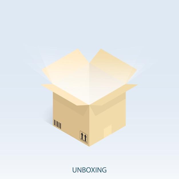 Expédition shopping en ligne, vecteur unboxing isométrique Vecteur Premium
