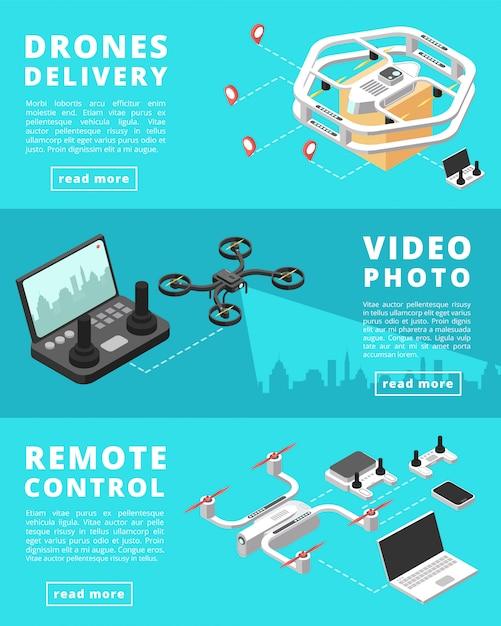 Expédition, surveillance, contrôle avec des drones sans équipage Vecteur Premium