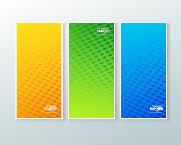 Expérience bannière verticale avec le style de demi-teintes Vecteur Premium