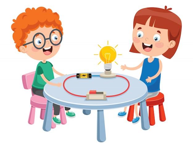 Expérience De Circuit électrique Simple Pour L'éducation Des Enfants Vecteur Premium