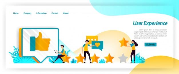 L'expérience utilisateur, y compris les commentaires, évaluations et critiques, constitue un retour d'information pour gérer la satisfaction des clients lors de l'utilisation des services. modèle web de page de destination Vecteur Premium