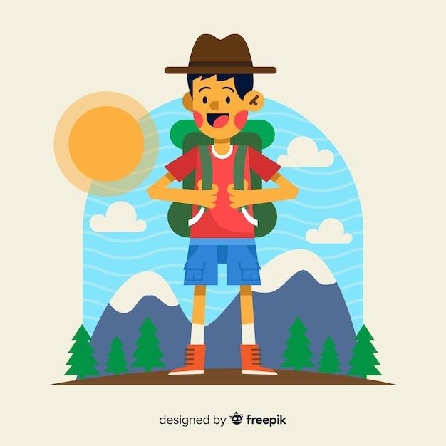 Explorateur dessiné à la main avec sac à dos Vecteur gratuit