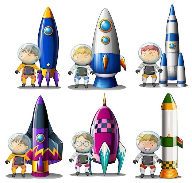 Explorateurs à côté des fusées Vecteur gratuit