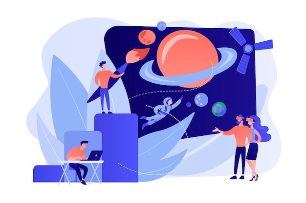 Exploration Spatiale Vr, Voyage Cosmos En Réalité Virtuelle Vecteur gratuit