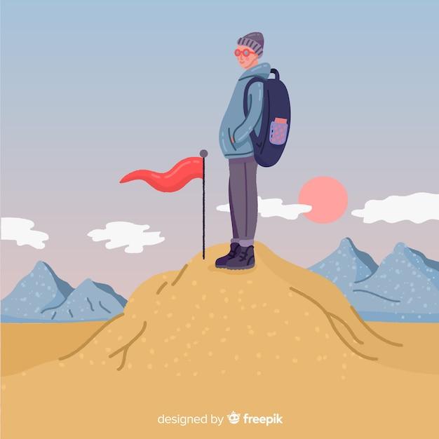 Explorer avec fond de sac à dos Vecteur gratuit