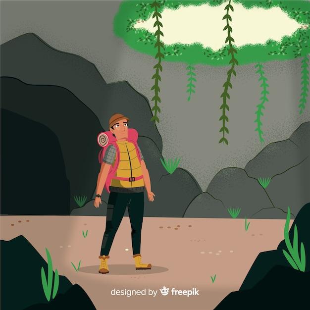 Explorer avec sac à dos Vecteur gratuit