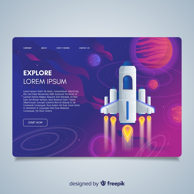 Explorez la page d'atterrissage de fusée Vecteur gratuit