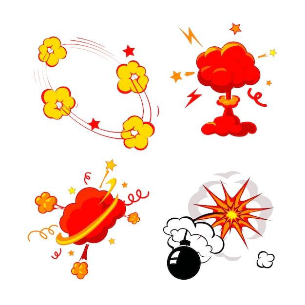Explosion de bandes dessinées, ensemble de bombes et d'explosions, bombe incendiaire de bande dessinée, détonation et explosion Vecteur Premium