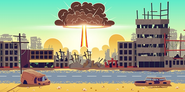 Explosion de bombe nucléaire dans le vecteur de la ville en ruines Vecteur gratuit