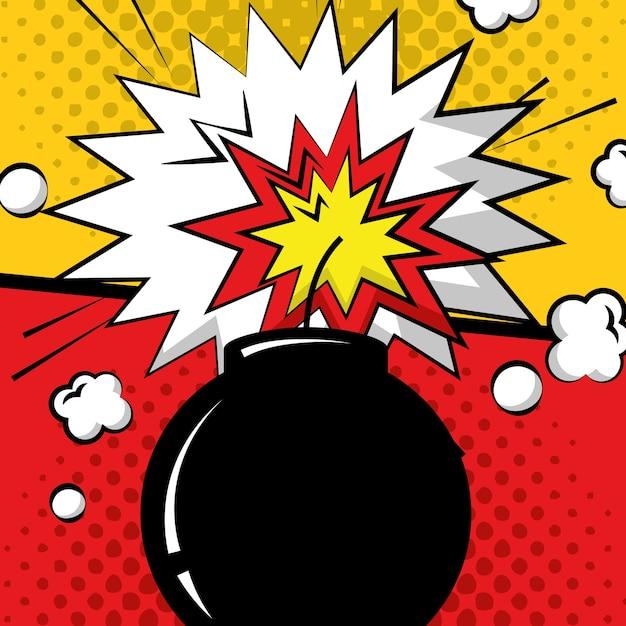 Explosion de boom de bombe de pop art comique Vecteur Premium