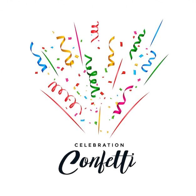 Explosion de confettis et serpentine Vecteur gratuit