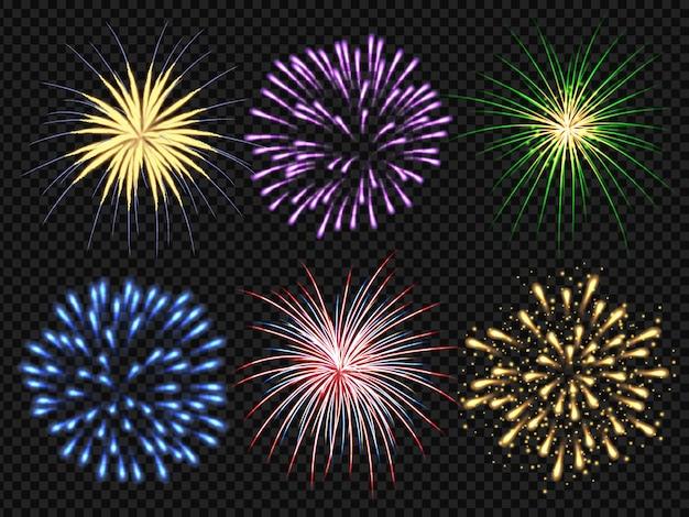 Explosion De Feux D'artifice. Fête D'anniversaire Big Bang Festive Collection De Feux D'artifice Réalistes étincelants Vecteur Premium