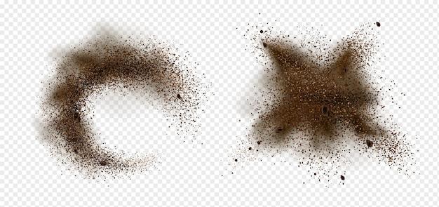 Explosion De Grains De Café Et De Poudre. Illustration Réaliste De Grains De Café Moulu Torréfié Râpé Et Arabica Avec éclaboussures De Poussière Brune Isolé Sur Fond Transparent Vecteur gratuit