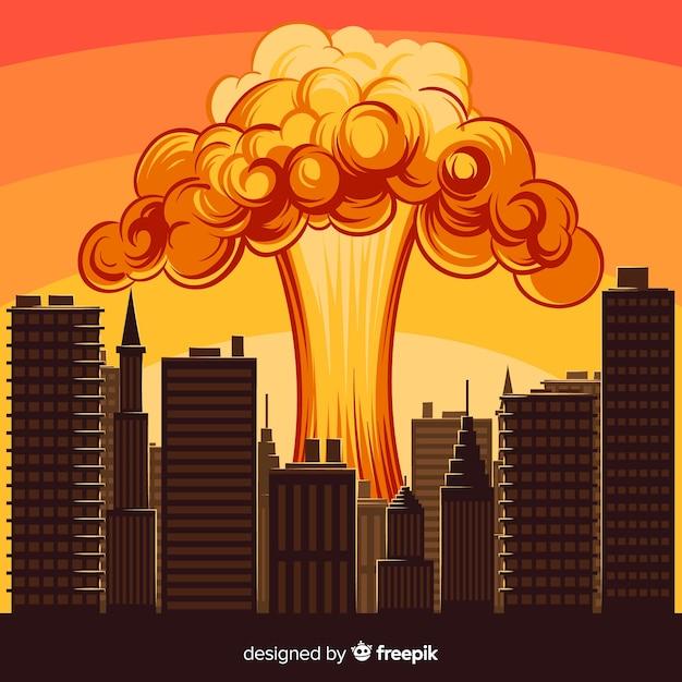 Explosion Nucléaire Dans Une Ville Vecteur gratuit