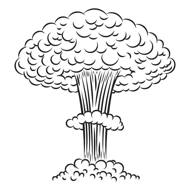 Explosion Nucléaire De Style Bande Dessinée Sur Fond Blanc. élément Pour Affiche, Carte, Bannière, Flyer. Illustration Vecteur Premium