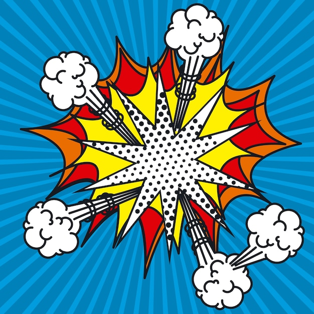 Explosion pop art style vector illustration design Vecteur Premium