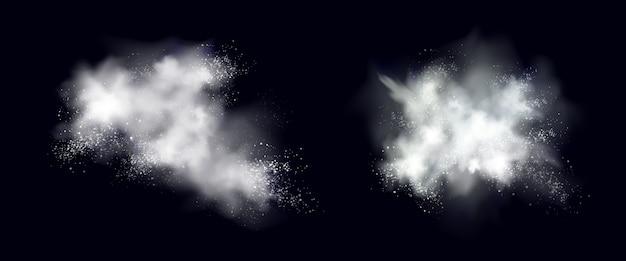 Explosion De Poudre De Neige Blanche, Glace Ou Flocons De Neige éclaboussant Des Nuages Vecteur gratuit