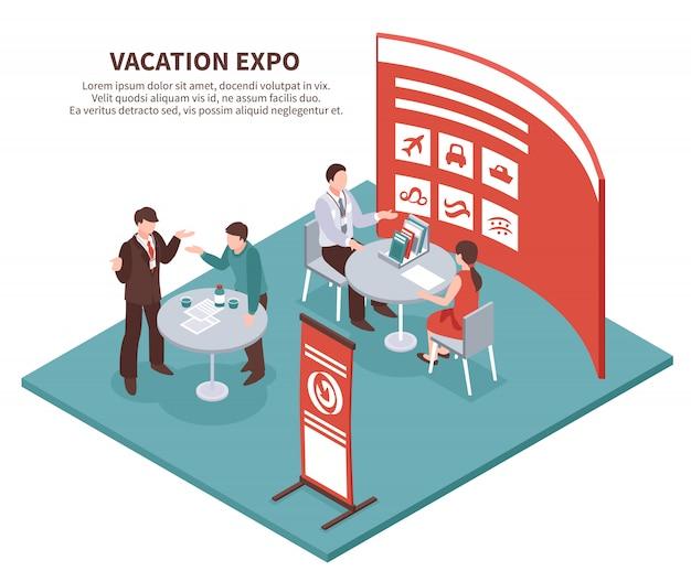 Expo Vacances Isométrique Vecteur gratuit
