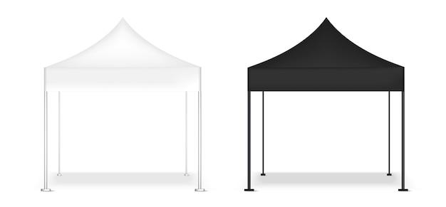 Exposition réaliste de cabine de pop d'affichage de tente 3d maquette Vecteur Premium