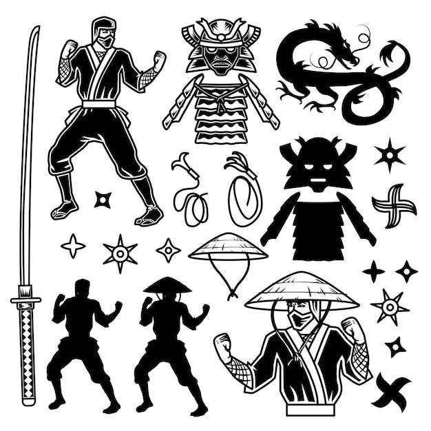 Exposition De Samouraï Et Ninja Vecteur gratuit