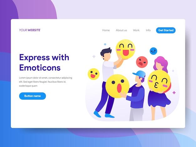 Express avec émoticônes illustration sur la page d'accueil Vecteur Premium
