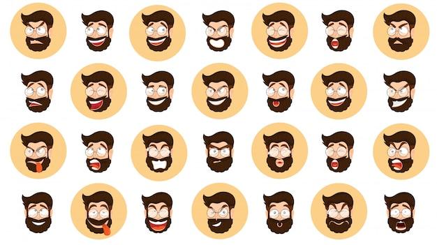 Expression différente sertie de visage de dessin animé barbu Vecteur Premium