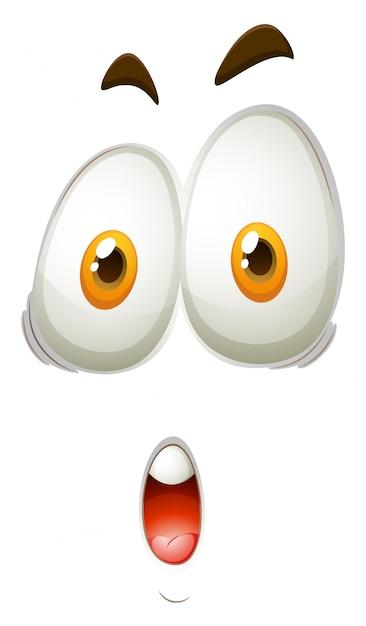 Expression faciale du visage choquant Vecteur Premium
