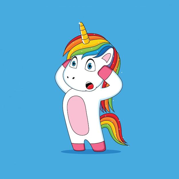 Expression de la licorne qui a été choqué dessin animé Vecteur Premium