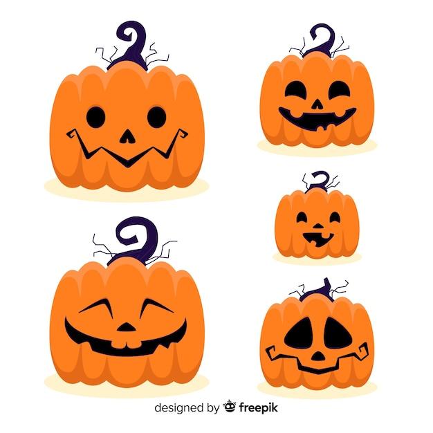 Expressions Du Visage Halloween Jack-o-lanterne Vecteur Premium