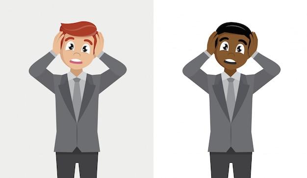 Expressions Faciales, émotions Et Langage Corporel. Choqué Jeune Homme D'affaires, Tenant La Tête Avec Les Mains. Vecteur Premium