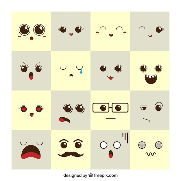 Expressions D'humeur Belles Vecteur Premium